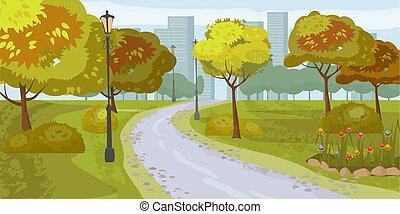 Landschaftshintergrund. Öffentlicher Park in der Stadt. Vector Illustration. Isoliert