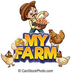 landwirt, mein, schriftart, design, bauernhof, wort, hühner