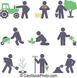 Landwirtschaft. Ikonen einstellen