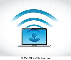 Laptop-Leute verbinden Illustration Design.