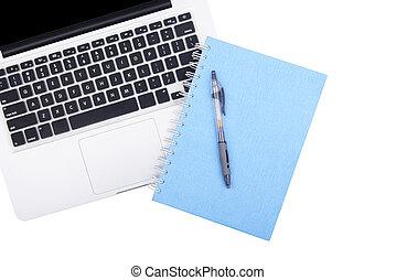 laptop, stift, buch, merkzettel