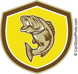 Largemouth Bass Sprungschild Retro.