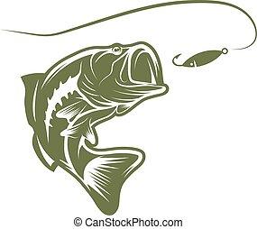 Largemouth Bass und lure Vektor-Design Vorlage.