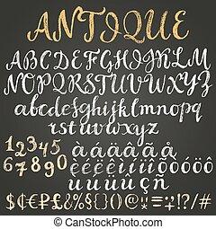 latein, tafelkreide, alphabet, drehbuch