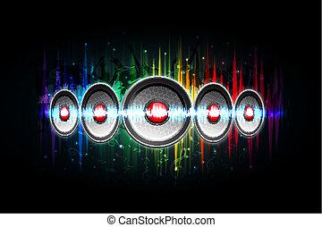 Lauter Lautsprecher auf musikalischem Hintergrund.