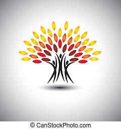 leben, begriff, glücklich, freudig, eco, leute, -, bäume, vector.