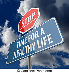 leben, gesunde, stopschild, wörter, zeit, straße