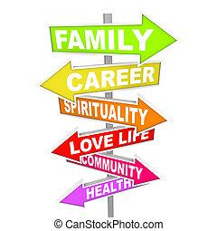 leben, sachen, -, priorities, wichtig, pfeil, zeichen & schilder, gleichgewicht