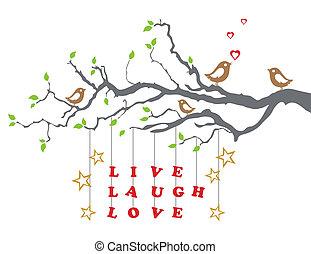 Lebend lachen Liebe auf einem Ast