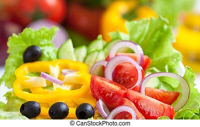 lebensmittel, gemüse, frisch, salat, gesunde