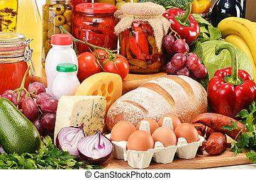 lebensmittelgeschäft, fleisch, gemischt, produkte, gemuese, einschließlich, früchte, molkerei, wein, bread