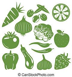 Lebensmittelgrüne Ikonen bereit