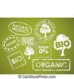 lebensmittelgutscheine, satz, organische