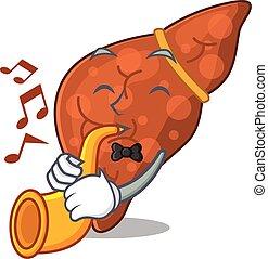 leber, fibrosis, menschliche , trompete, design, spielende , begabt, karikatur, musiker