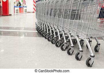 leerer , supermarkt, karren, reihe