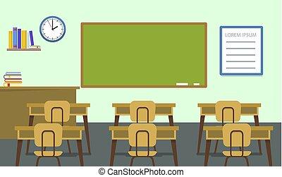 Leererer Klassen Hintergrund, flacher Stil