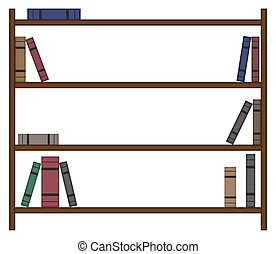 Leeres Bücherregal mit wenigen Büchern.