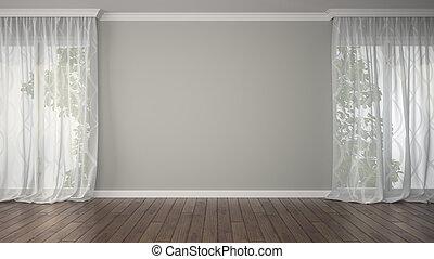Leeres Zimmer mit zwei Vorhängen.