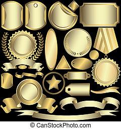 Leg goldene und silberne Etiketten (Vektor)