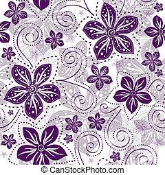 Leichtes weiß-violettes Blumenmuster