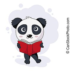 lesende , abbildung, panda, reizend, buch, vektor
