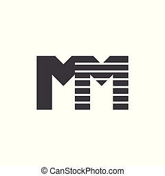 Letter mm Streifen dynamischer Logo-Vektor.