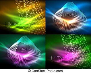 Leuchtende Neonhintergründe, Energiekonzept, Wellenlinien