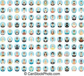 Leute Avatar-Sammlung. Flat Circle Icons von Menschen, Berufen, Arbeiten. Menschenporträts, Cartoon-Leute, Menschenleben. Menschliche Rolle. Die Gesellschaft der Menschen.