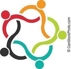 leute, gemeinschaftsarbeit, logo, 5, welle