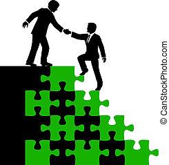 leute geschäft, partner, finden lösung, hilfe