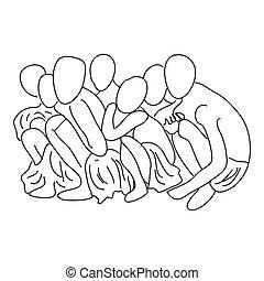 leute, hand, einige, gezeichnet, begriff, abolishing, sklaverei, squatting.