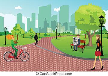 Leute in einem Stadtpark