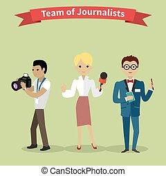 leute, journalisten, stil, gruppe, wohnung, mannschaft