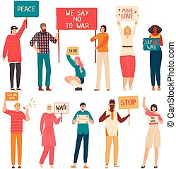 leute, karikatur, gegen, protest, kriegsbilder, vektor, abbildung, weißes, freigestellt, charaktere, satz