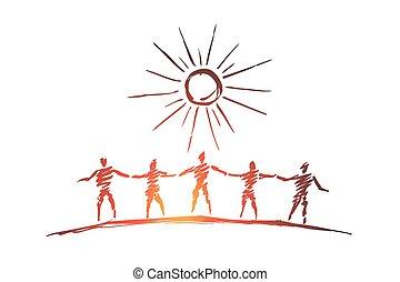 leute, mannschaft, halten hand, hände, silhouetten, gezeichnet