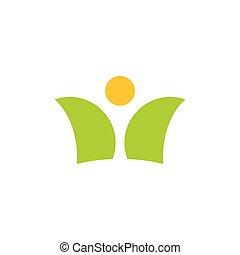 leute, sonne, logo, blatt, vektor, natur, abstrakt, symbol