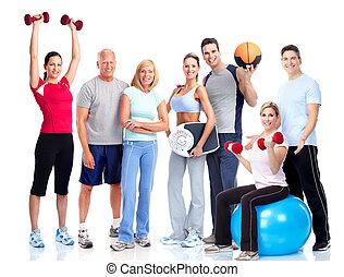 leute., turnhalle, fitness., lächeln