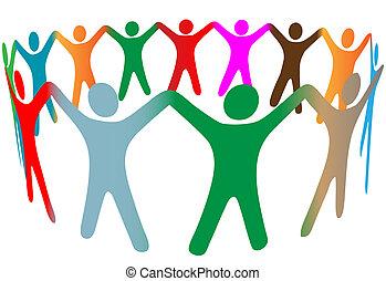 leute, viele, symbol, auf, farben, verschieden, hände, ring, halten, mischung