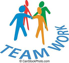 leute, zusammenarbeit, beitreten, gemeinschaftsarbeit, hände