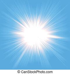 licht, starburst, himmel