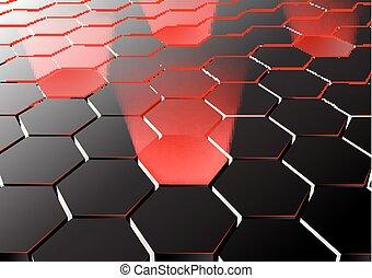 lichter, sechseckig, perspektive, hintergrund, rotes