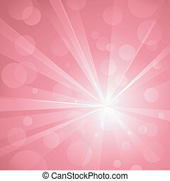 Lichtexplosion mit glänzenden Punkten, abstrakter Hintergrund in Rosafarben. Benutze Radial- und linearen Gradienten, globale Farben. Keine Transparenzen. Kunstwerk gebündelt und bedeckt.