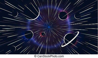 Lichtsterne fliegen mit hoher Geschwindigkeit vorbei, Weltraum-Abenteuer.
