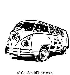 liebe, auto, reise, frieden, abbildung, vektor, retro, kleintransport