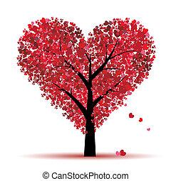 liebe, blatt, baum, herzen, valentine