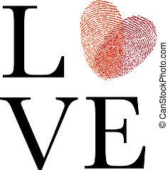Liebe mit rotem Fingerabdruckherz