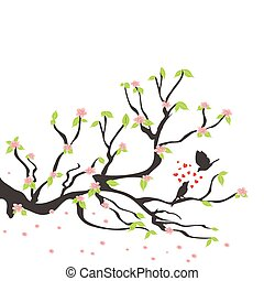 Liebe Vögel auf dem Pflaumenbaum