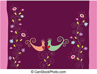 Liebe Vögel und Blumen