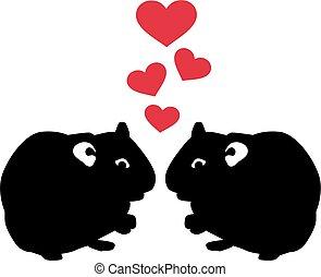 liebe, zwei, hamster
