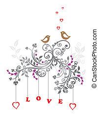 Liebesvögel und Blumenschmuck
